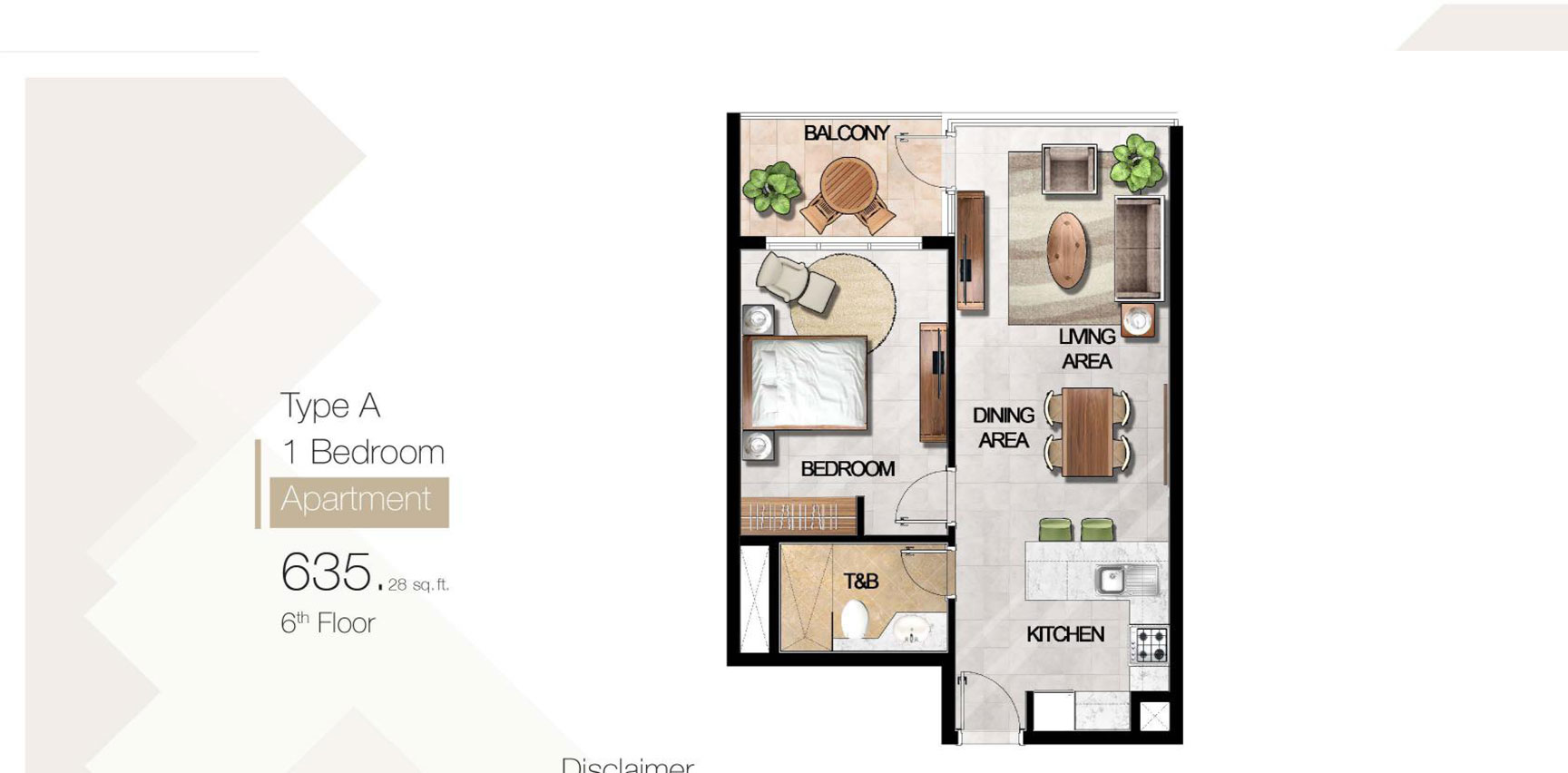 1 Bedroom Type A Size 635.28 sq.ft