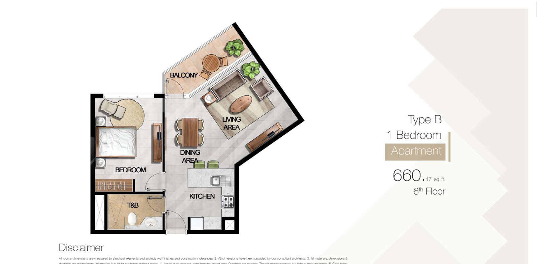 1 Bedroom Type B, Size 660.47 sq.ft