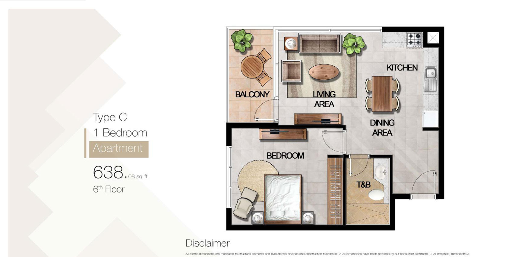1 Bedroom Type C Size 638.08