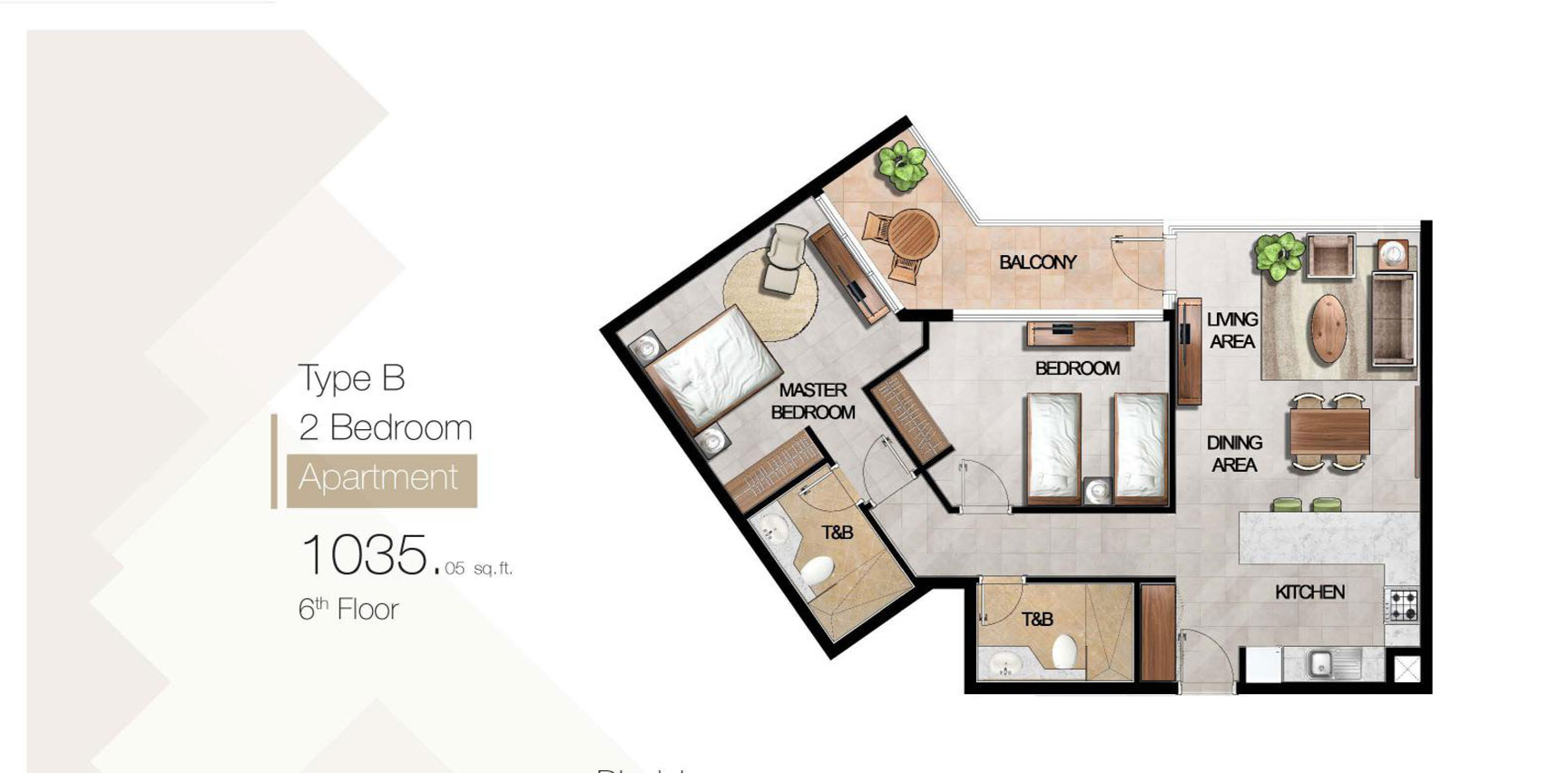 2 Bedroom Type B Size 1035.05 sq.ft