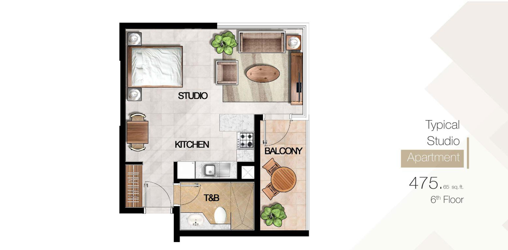 Typical Studio 6th Floor Size 475.65 sq.ft